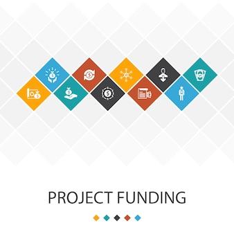 Finanziamento del progetto alla moda del concetto di infografica del modello dell'interfaccia utente. icone di crowdfunding, sovvenzione, raccolta fondi, contributo
