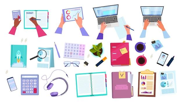 Gestione del progetto e audit finanziario impostato con le mani