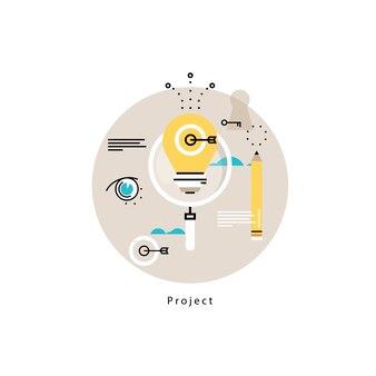Gestione del progetto disegno piatto illustrazione vettoriale. monitoraggio, valutazione, controllo del design per la grafica mobile e web
