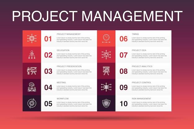 Modello di opzione 10 infografica di gestione del progetto. presentazione del progetto, riunione, flusso di lavoro, icone semplici di gestione del rischio