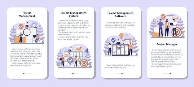 Set di banner per applicazioni mobili per la gestione dei progetti. strategia, motivazione e leadership di successo. analisi e sviluppo del marketing. illustrazione vettoriale in stile cartone animato