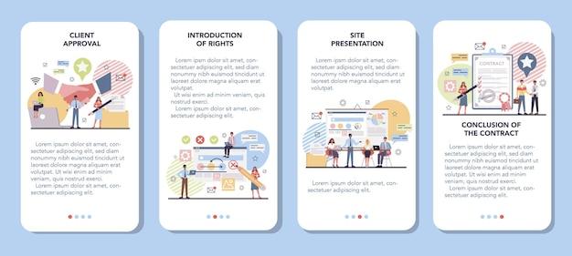 Set di banner per applicazioni mobili di gestione del progetto