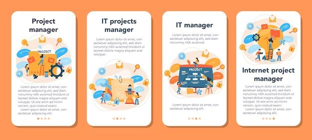 Set di banner per applicazioni mobili per la gestione dei progetti Vettore Premium