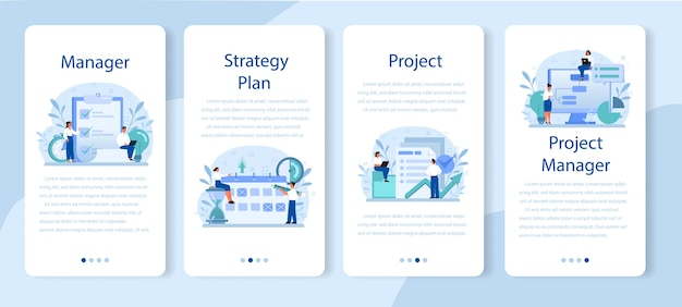 Set di banner per applicazioni mobili per la gestione dei progetti