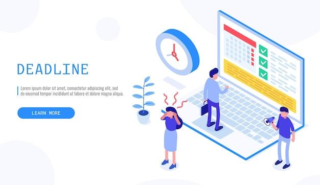 Pianificazione del progetto, scadenza e concetto di gestione del tempo. lavoro di squadra di affari. illustrazione isometrica di vettore 3d.