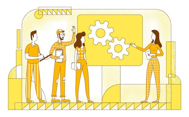 Illustrazione piana della siluetta di presentazione del progetto. gli impiegati dell'azienda contano i caratteri su fondo giallo. riunione d'affari, pianificazione aziendale, briefing in ufficio disegno di stile semplice