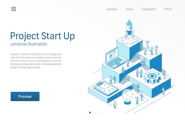 Avvio del progetto. lavoro di squadra di uomini d'affari. illustrazione al tratto isometrica moderna startup di successo. processo di sviluppo, prodotto innovativo, icona di lancio di un razzo. concetto di crescita passo infografica.