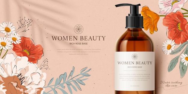 Banner promozionale per mockup di prodotti detergenti profumati decorato con bellissimi fiori disegnati a mano
