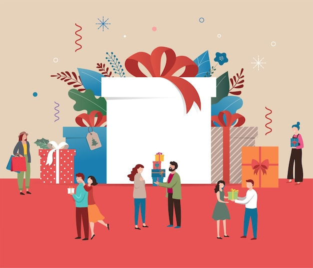 Cartolina di natale promozionale, banner di capodanno, poster di vendita e volantino con scatole regalo giganti e piccole persone, uomini e donne