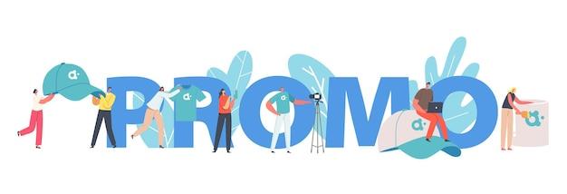 Concetto di promozione. piccoli personaggi maschili e femminili con enormi prodotti promozionali per t-shirt, cappellini, memory stick e tazze, poster pubblicitari, striscioni o volantini con l'identità del marchio. cartoon persone illustrazione vettoriale
