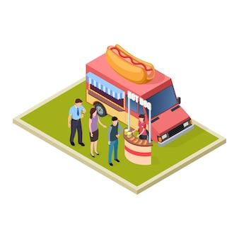 Degustazione di hot dog e birra promozionale e camion di fast food