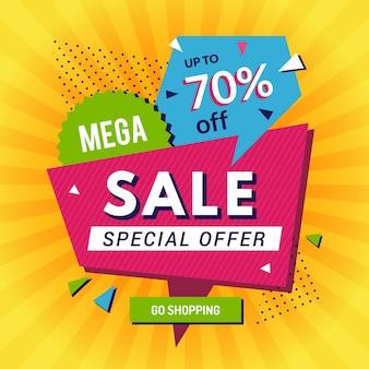 Poster promozionale. grandi sconti sulle vendite annunciano lo shopping banner pubblicità sfondo modello. sconto di vendita, illustrazione di offerta speciale di prezzo di promozione