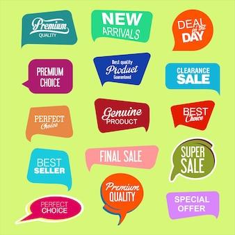Collezione di adesivi e tag di vendita promozionale dal design moderno