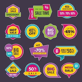 Adesivi promozionali. sconto badge o etichette cartellini dei prezzi di vendita annunciano la raccolta. adesivo di offerta di sconto, illustrazione dell'annuncio del prezzo promozionale
