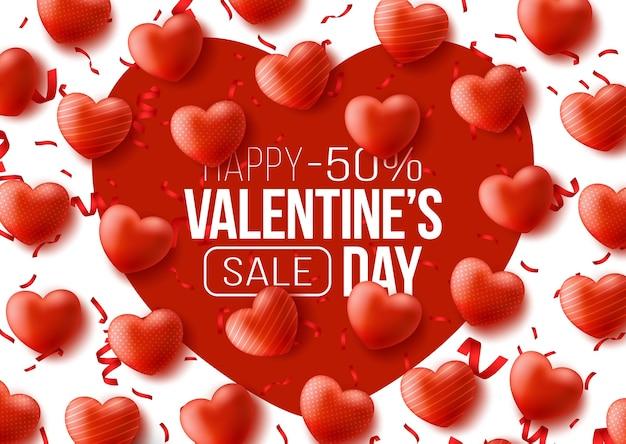 Banner web promozionale per san valentino. grande cuore rosso e ballon cuori rossi.