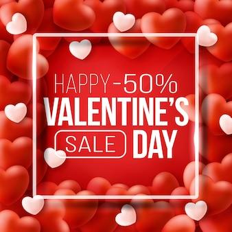 Banner web promozionale per la vendita di san valentino. bellissimo sfondo con cuori rossi.