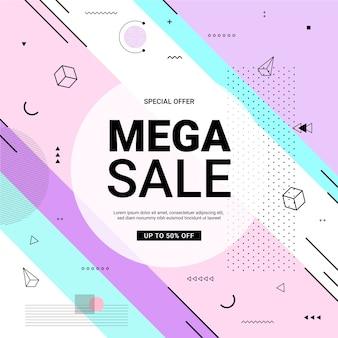 Banner promozionale stile memphis con forme geometriche in colori pastello.