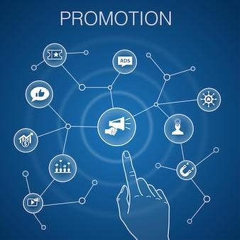Promozione, concetto, sfondo blu. pubblicità, vendite, conversione dei lead, attrarre icone