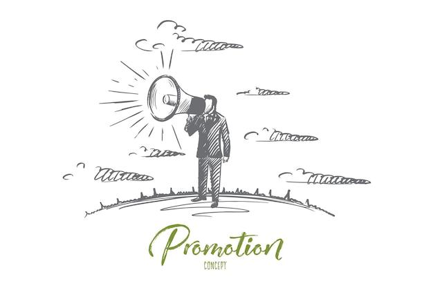 Concetto di promozione. uomo disegnato a mano che urla attraverso il megafono. persona di sesso maschile che promuove qualcosa con illustrazione isolato corno.