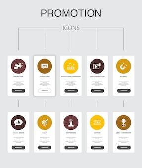 Promozione infografica 10 passaggi ui design.advertising, sales, lead conversion, attrarre icone semplici