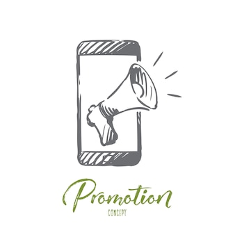 Promozione, telefono cellulare, pubblicità, concetto di altoparlante. smartphone e megafono disegnati a mano per l'abbozzo del concetto di promozione.