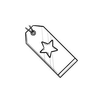 Cartellino del prezzo di promozione con icona di doodle di contorno disegnato a mano stella. etichetta di vendita, sconto, vendita al dettaglio, concetto di negozio