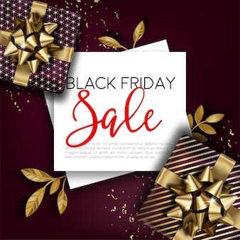 Banner promozionale per la vendita del black friday. sconti e riduzioni per evento autunnale. negozi e negozi di marketing e costi economici. pubblicità con regali e testo. vettore in stile piatto