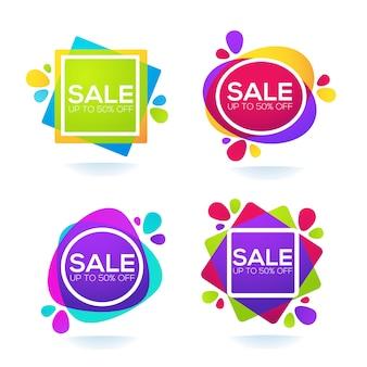 Vendita promozionale, raccolta di etichette luminose, banner e adesivi