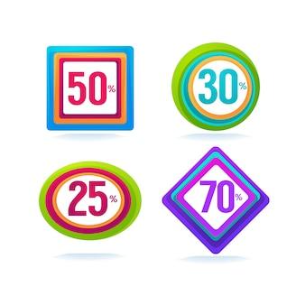 Vendita promozionale, raccolta vettoriale di tag di bolla sconto brillante, banner e adesivi