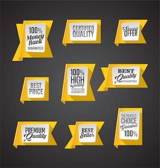 Set promozionale di banner e adesivi gialli
