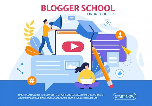 Prompt poster blogger school online courses flat.