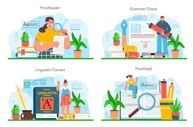 Set di correttori di bozze pubblicazioni stampate di processo tecnologico della tipografia