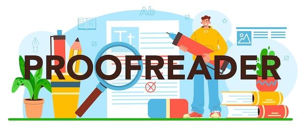 Processo tecnologico della casa di stampa di intestazione tipografica del correttore di bozze