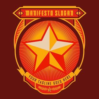 Stella rossa del distintivo di propaganda