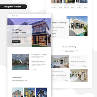 Prenotazione di proprietà e appartamenti e acquisto di modelli di home page