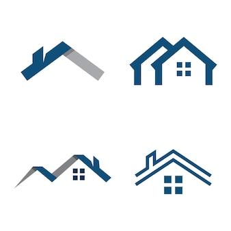 Progettazione del modello di vettore del logo della casa di proprietà e costruzione