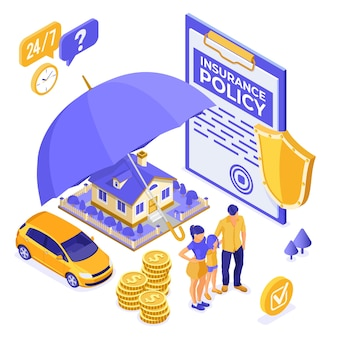 Proprietà, casa, auto, concetto isometrico di assicurazione familiare