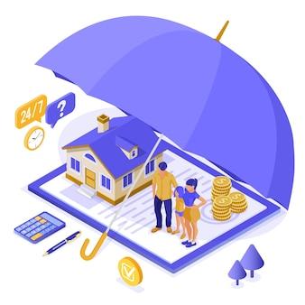 Concetto isometrico di assicurazione delle finanze della famiglia della casa della proprietà per la pubblicità del sito web del manifesto con la polizza assicurativa sull'ombrello e sulla calcolatrice dei soldi della lavagna per appunti. illustrazione vettoriale isolato