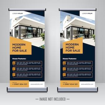 Modello di banner di proprietà, roll up o x