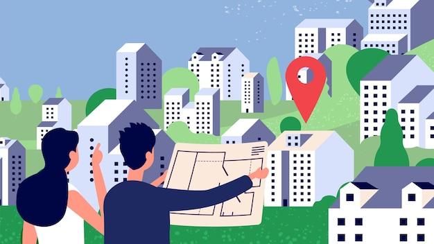 Selezione della proprietà. paio di guardare il piano casa. caratteri vettoriali, paesaggio di campagna con montagne di case. illustrazione casa edilizia immobiliare, architettura residenziale