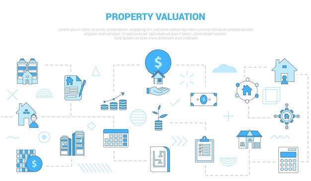 Concetto di valutazione della proprietà con banner modello set di icone con stile moderno di colore blu
