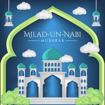 Banner del mese di nascita del profeta con lo sfondo dell'illustrazione della moschea