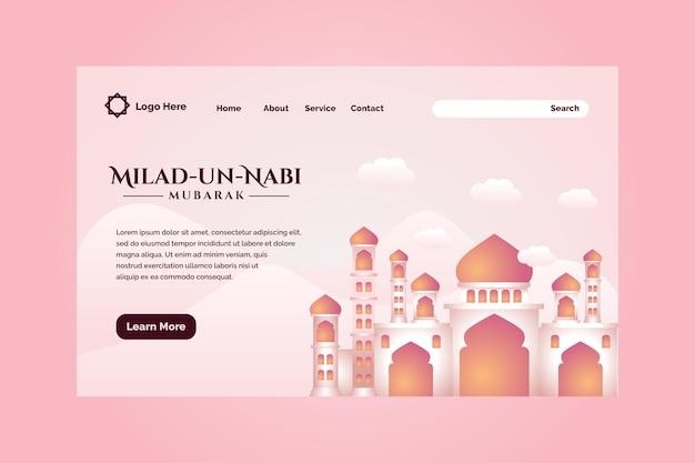 Progettazione della pagina di destinazione del mese di nascita del profeta con lo sfondo dell'illustrazione della moschea