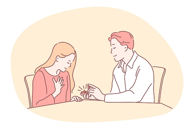 Proposta, impegno, concetto di coppia insieme. giovane personaggio dei cartoni animati di ragazzo felice amorevole seduto e fare proposta con anello nella casella alla ragazza sorpresa
