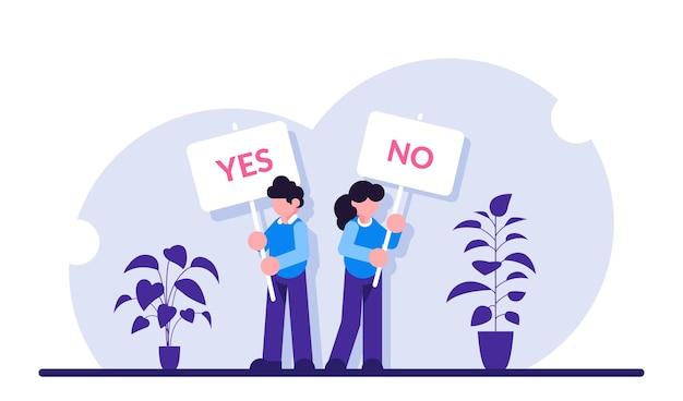 Pro e contro. uomo e donna all'incontro per decidere vantaggi e svantaggi, idee pro e contro. tenendo sì, nessun segno.