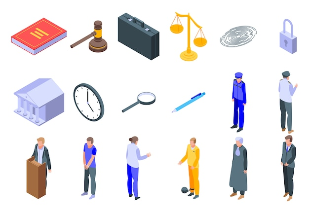 Set di icone di procuratore, stile isometrico