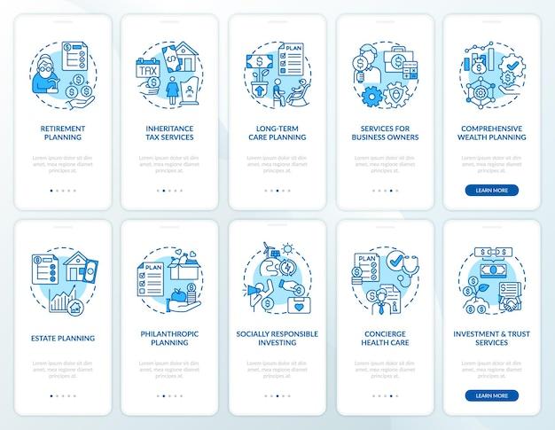 Strategia di prosperità per l'onboarding della schermata della pagina dell'app mobile con i concetti impostati. procedura dettagliata per le operazioni finanziarie 5 passaggi con istruzioni grafiche.