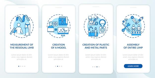 Schermata della pagina dell'app mobile di onboarding per la produzione di protesi con concetti. procedura dettagliata di modellazione del progetto 4 passaggi istruzioni grafiche.