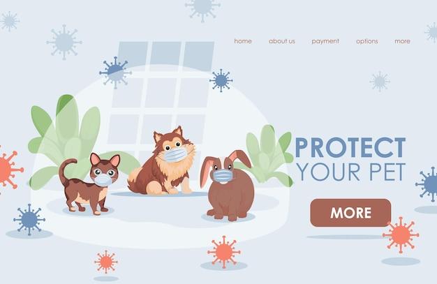 Proteggi il tuo modello di pagina di destinazione piatta per animali domestici