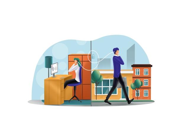 Connessione protetta, illustrazione della telefonata
